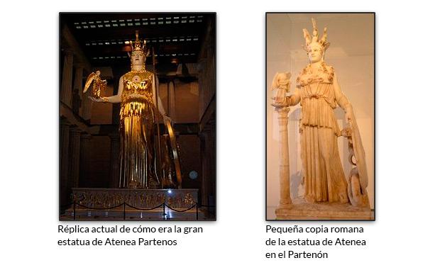 Réplica actual de cómo era la gran estatua de Atenea Partenos