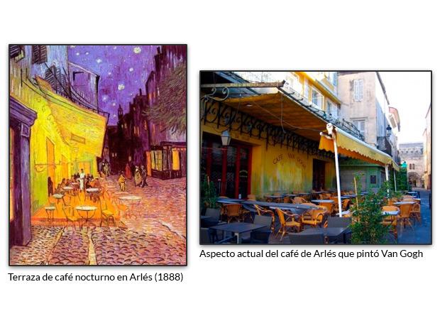 Terraza de café nocturno en Arlés