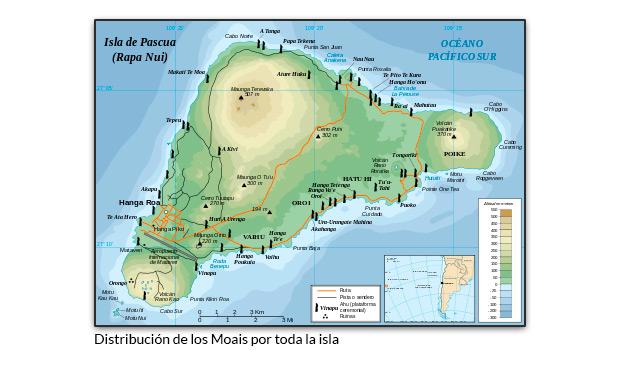 Distribución de los Moais por toda la isla