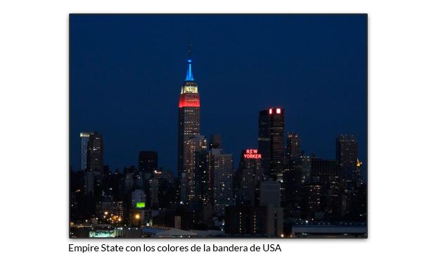 Empire State con los colores de la bandera de USA