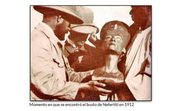 Momento en que se encontró el busto de Nefertiti en 1912