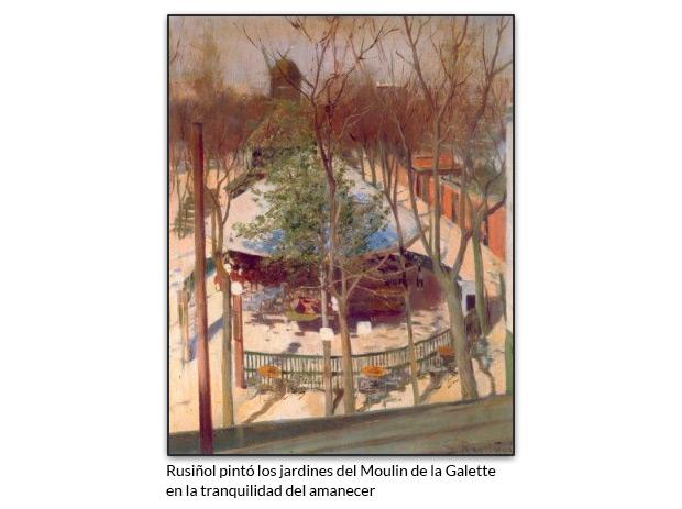 Rusiñol pintó los jardines del Moulin de la Galette en la tranquilidad del amanecer
