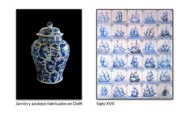 Jarrón y azulejos fabricados en Delft