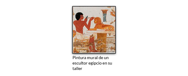 Pintura mural de un escultor egipcio en su taller