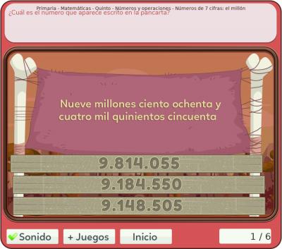 Juegos de números y operaciones 5º primaria