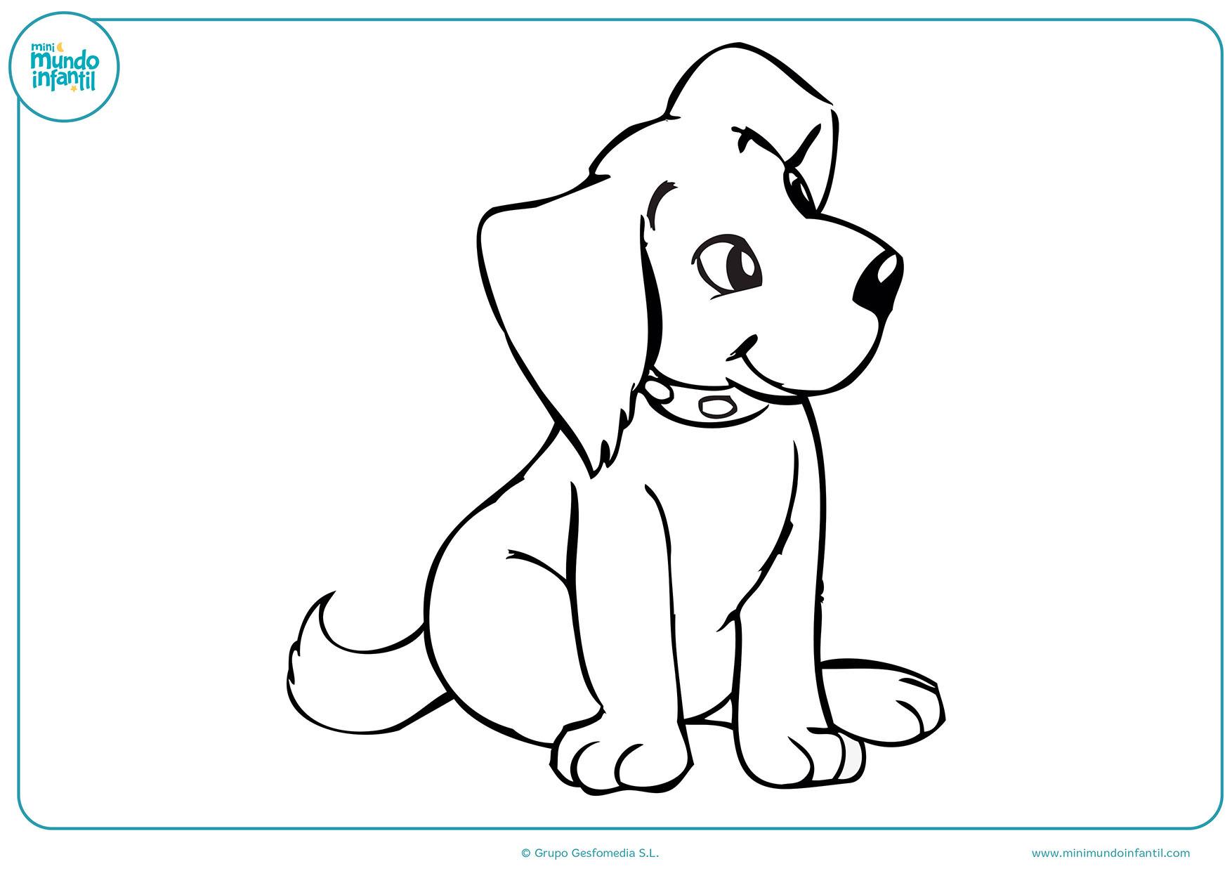Imagenes Para Colorear De Perros. Perro Pug Dibujo Para