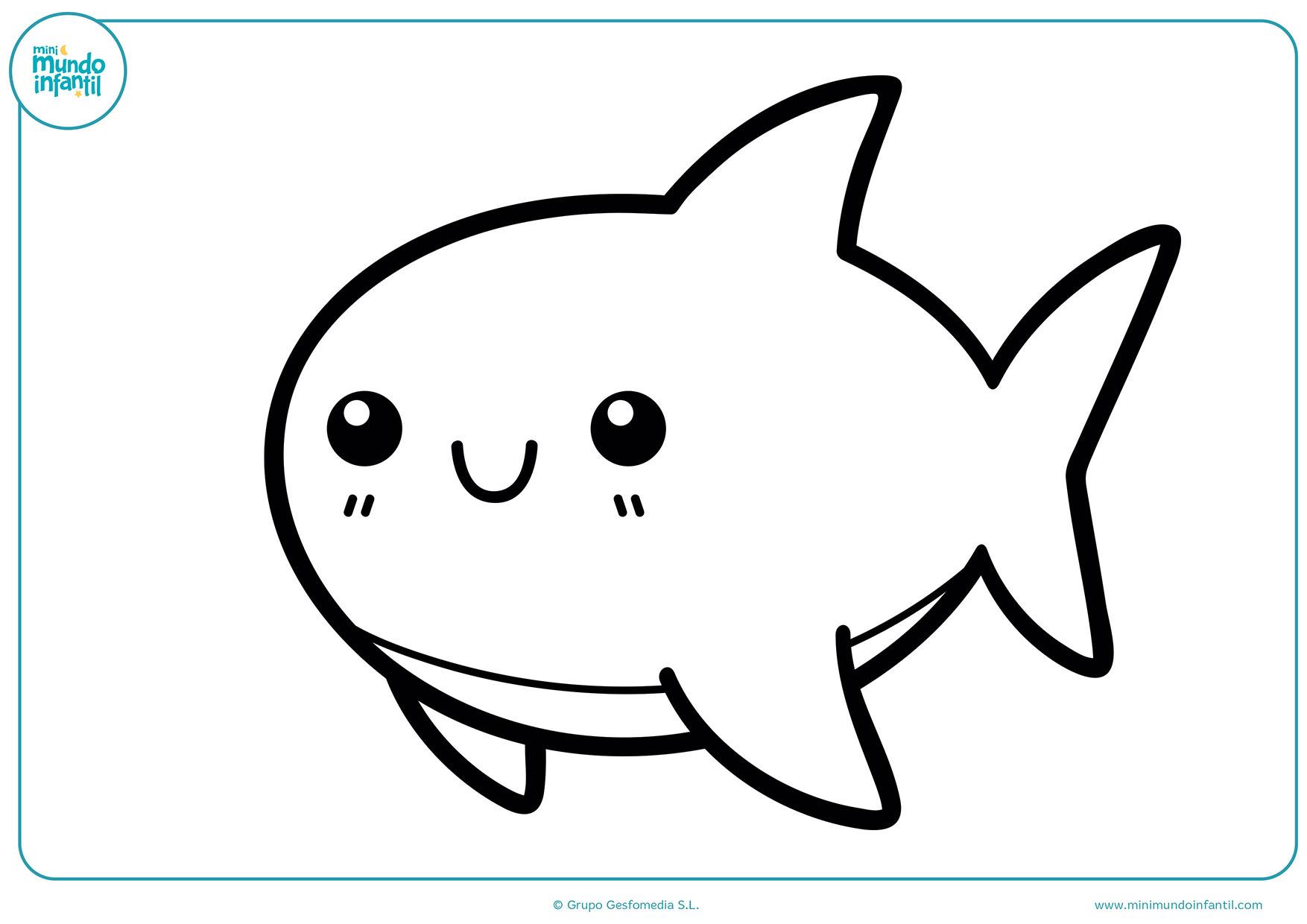 Tiburones Para Colorear. Simple Tiburn Divertido Vector Ilustracin ...
