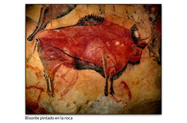 Bisonte pintado en la roca