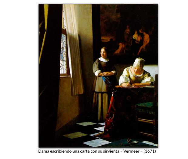 Dama escribiendo una carta con su sirvienta – Vermeer