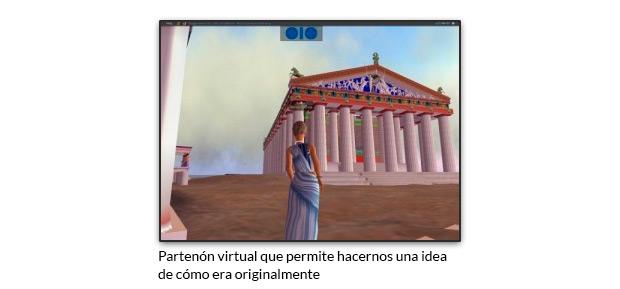 Partenón virtual que permite hacernos una idea de cómo era originalmente