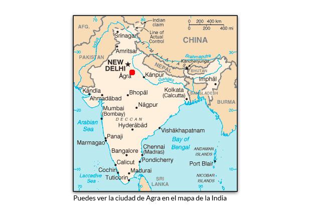 Puedes ver la ciudad de Agra en el mapa de la India