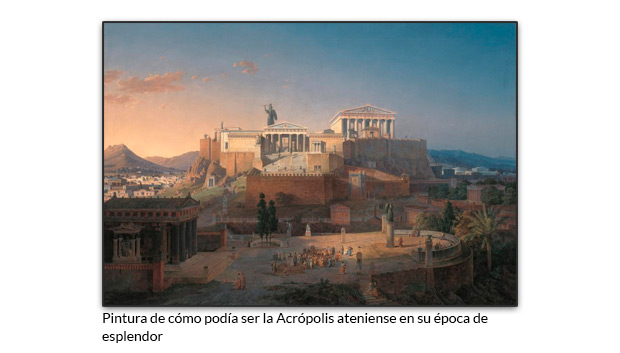 Pintura de cómo podía ser la Acrópolis ateniense en su época de esplendor