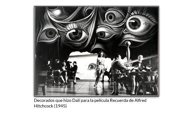 Decorados que hizo Dalí para la película Recuerda de Alfred Hitchcock
