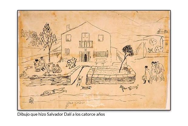 Dibujo que hizo Salvador Dalí a los catorce años