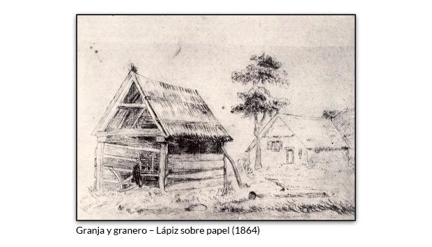Granja y granero – Lápiz sobre papel