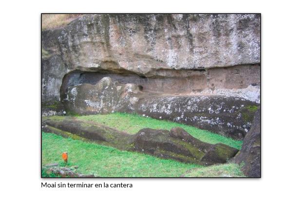 Moai sin terminar en la cantera
