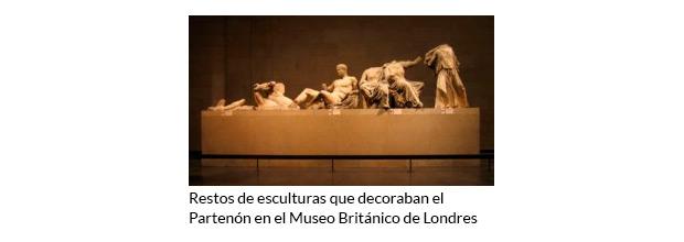 Restos de esculturas que decoraban el Partenón en el Museo Británico de Londres