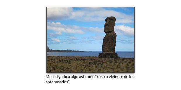 Moai significa rostro viviente de los antepasados