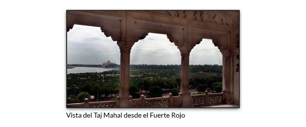Vista del Taj Mahal desde el Fuerte Rojo