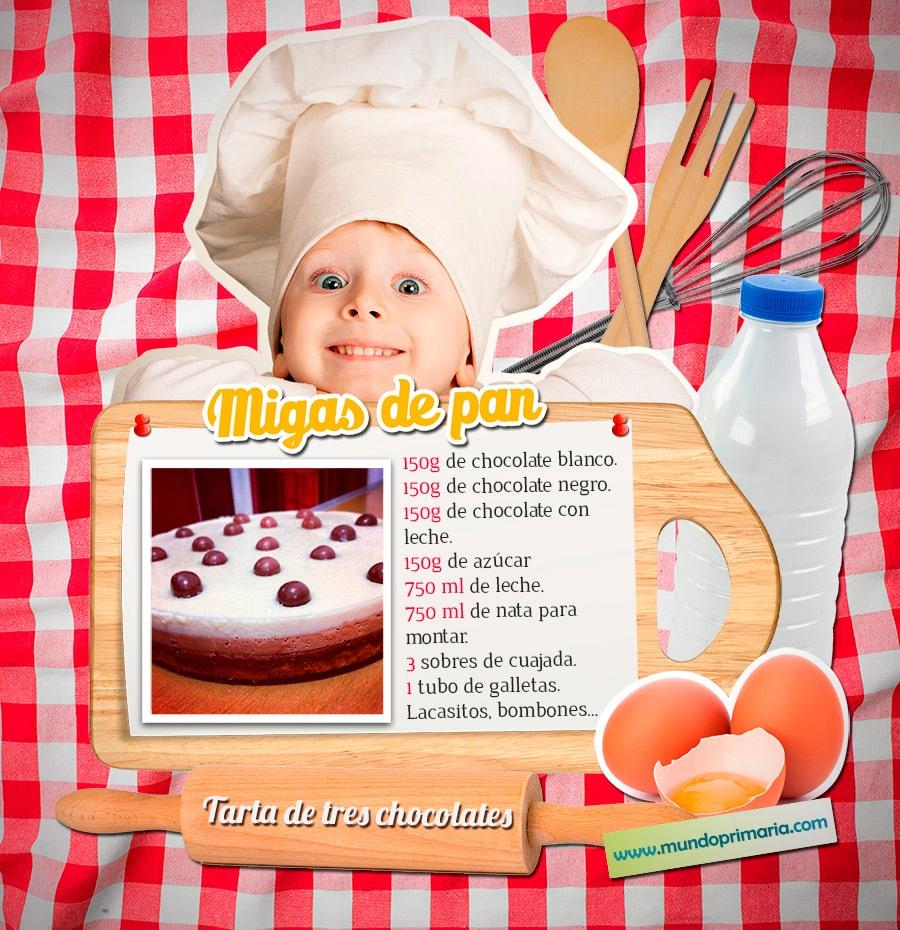 Ingredientes para la Tarta de tres chocolates