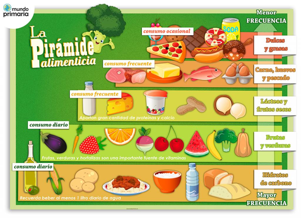 Infografía educativa de la pirámide alimenticia para niños