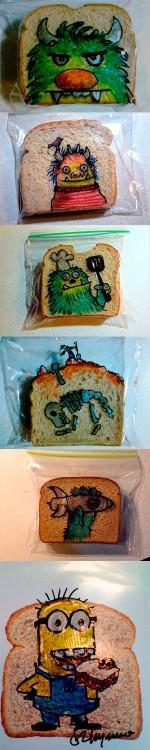 Un sándwich: un dibujo, los dibujos en la bolsa del sándwich de David Laferriere, el padre que dibuja en el sándwich de sus hijos