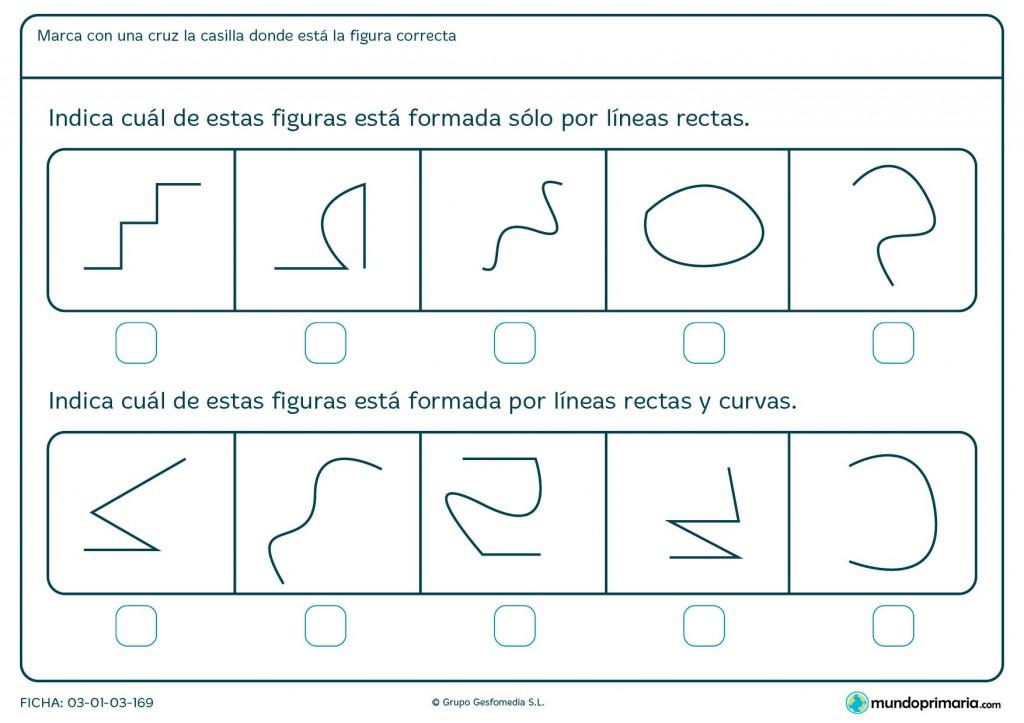 Ficha de curvas y rectas para niños de primaria