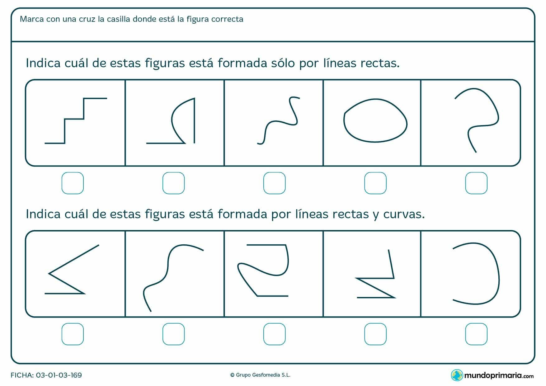 Ficha de curvas y rectas: Descarga las fichas de curvas y rectas para imprimir para primaria