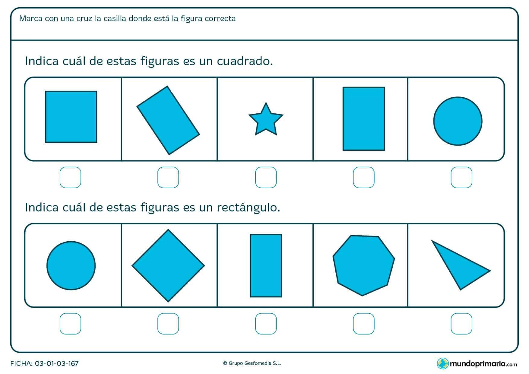 Ficha de formas para repasar, ficha de formas para niños de primaria, ficha de formas para niños, ficha de formas para 1º de primaria, fichas de Mundoprimaria