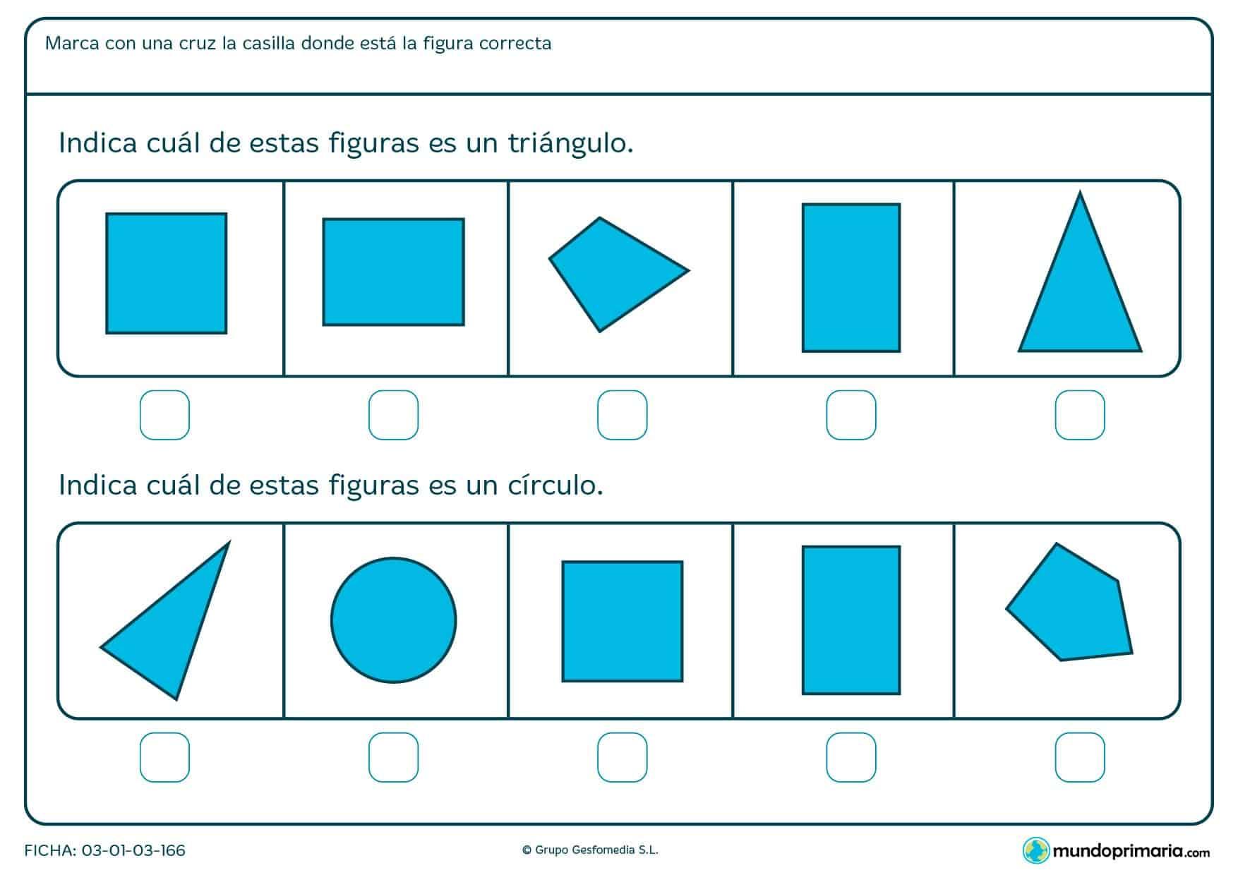 Ficha de geometrías para primaria. Descarga esta ficha de formas y repasa con este material escolar