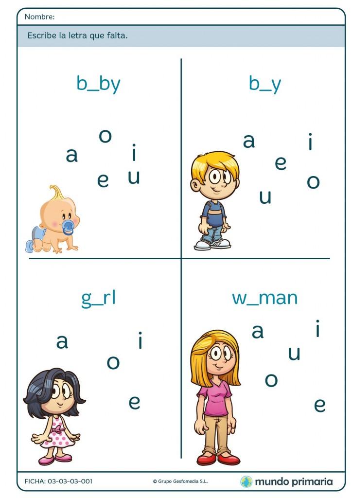 Ficha de completar la palabra en inglés para niños de primaria