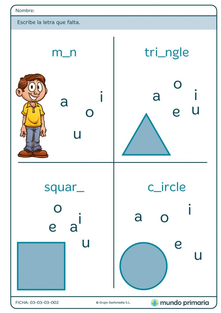 Ficha de elegir la letra que falta en inglés para primaria