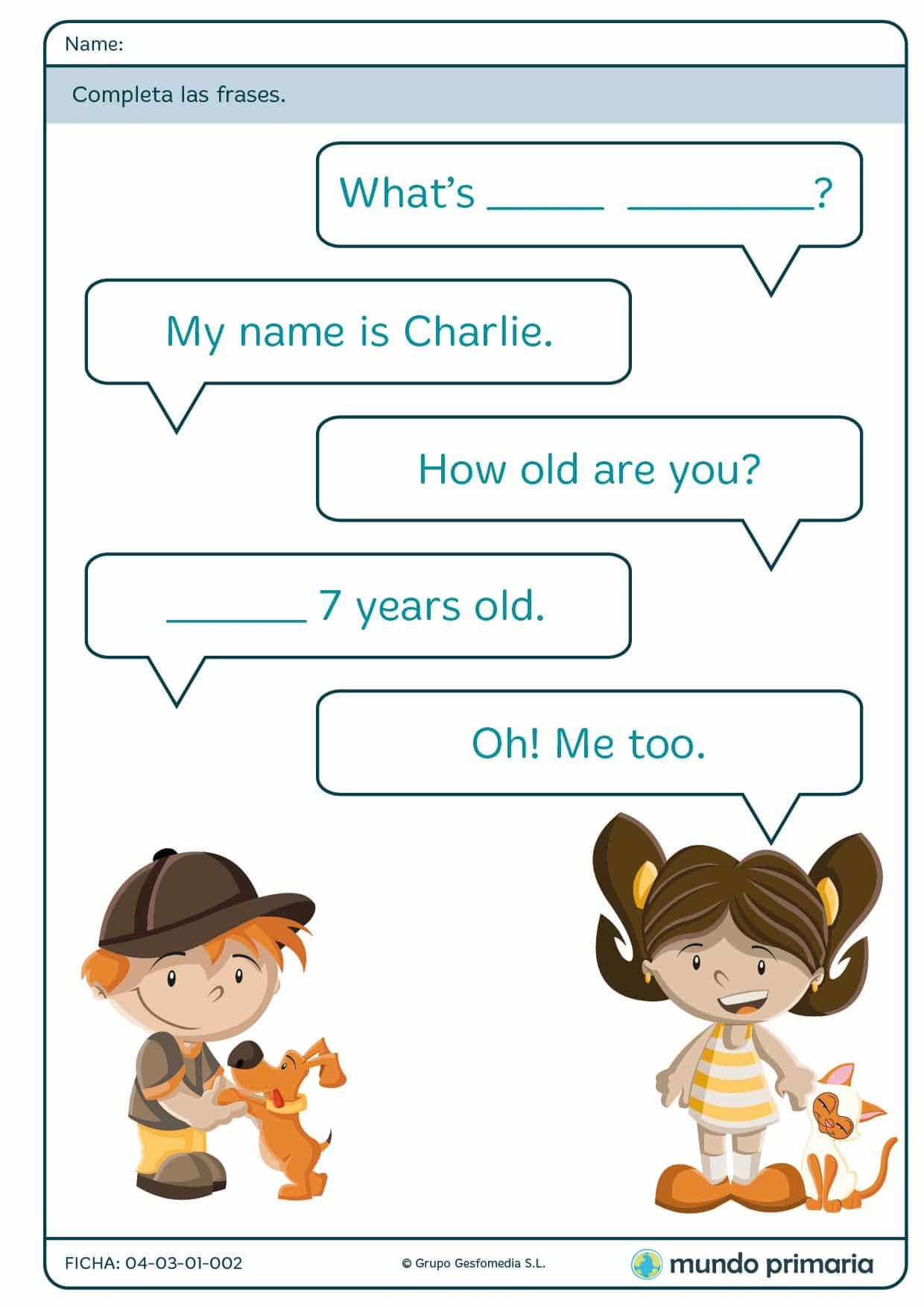 Ficha de conversación para 1º de primaria