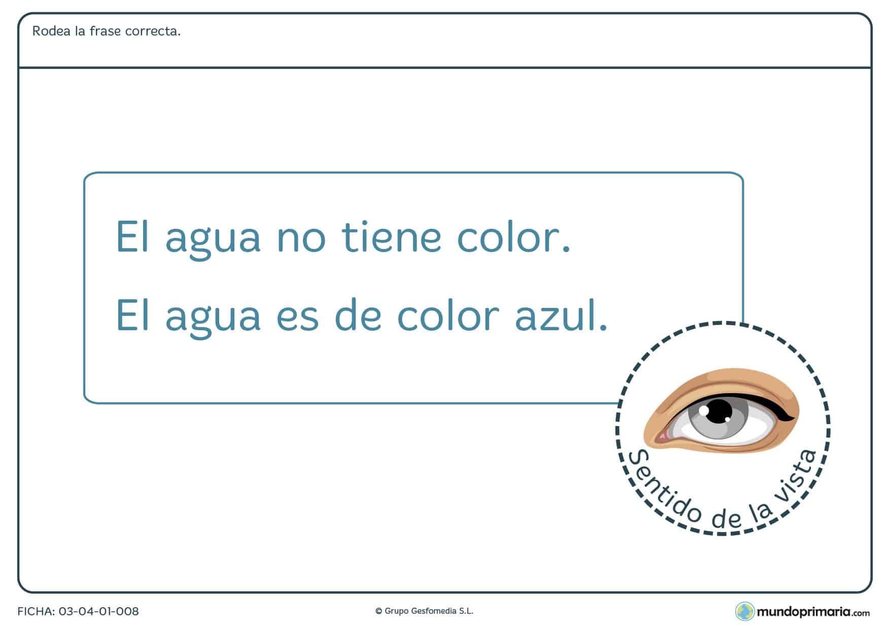Ficha de color en el agua donde los niños de primaria aprenden las propiedades del agua