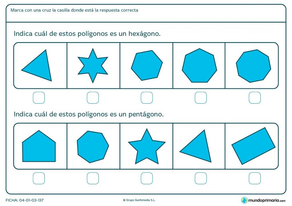 Ficha de hexágono para niños de primaria
