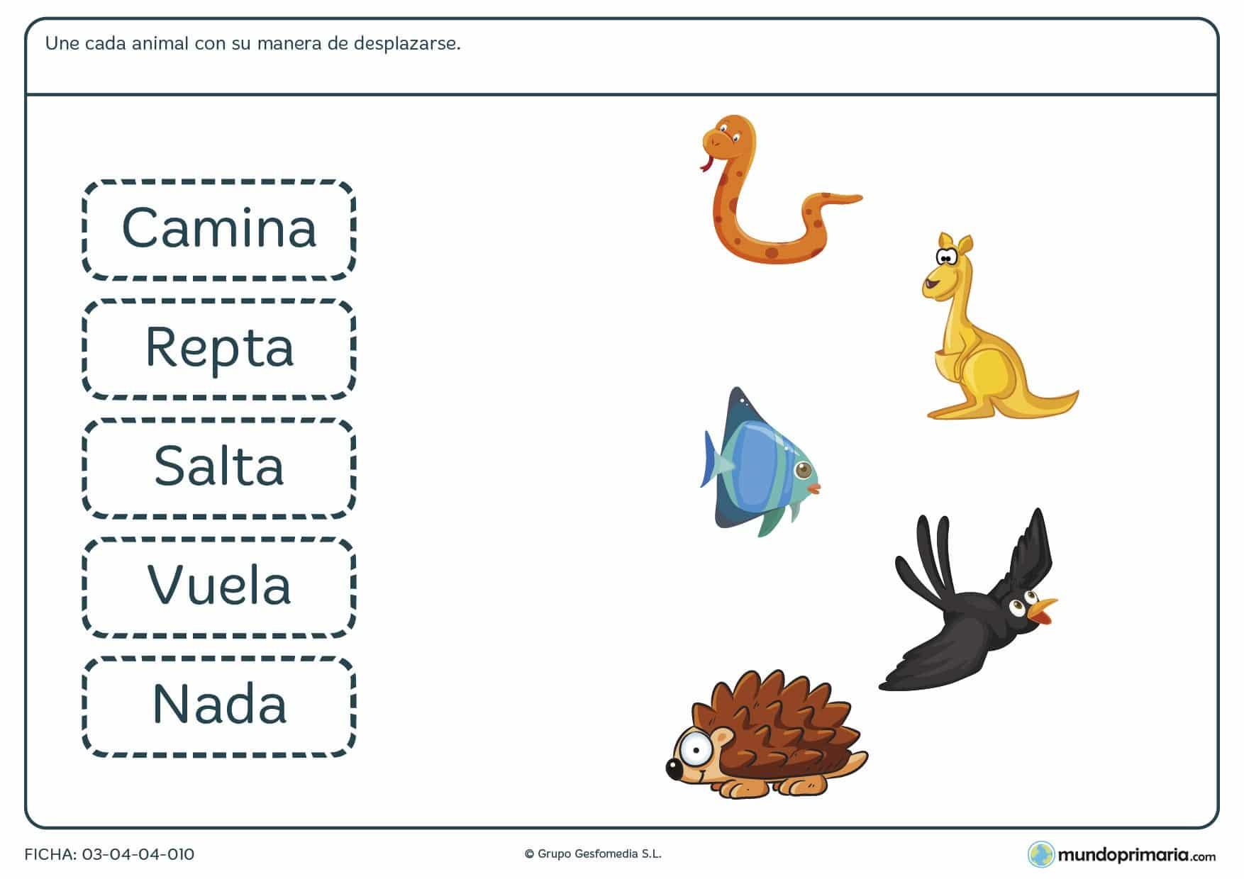 Ficha de la manera de desplazarse de los animales para primaria