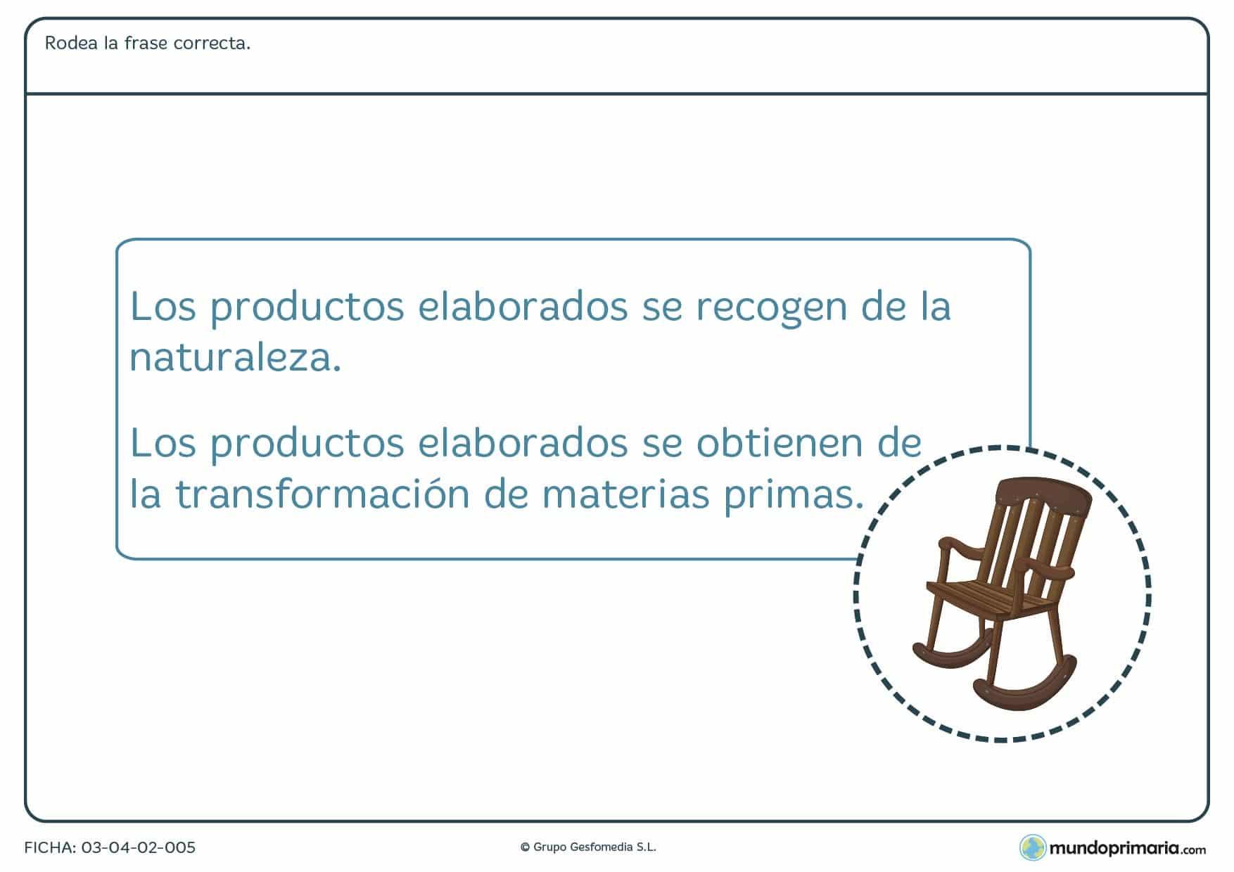 Ficha de la transformación de materias primas para ayudar a los niños a estudiar en primaria