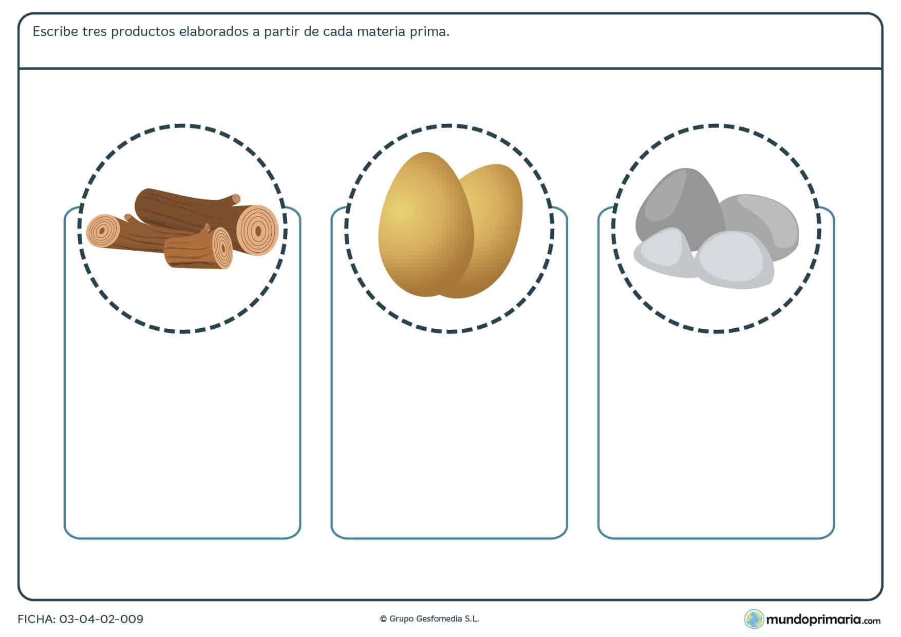 Ficha para imprimir sobre los derivados de la materia prima, ejercicio para niños de primaria en la ficha de los derivados de la materia prima
