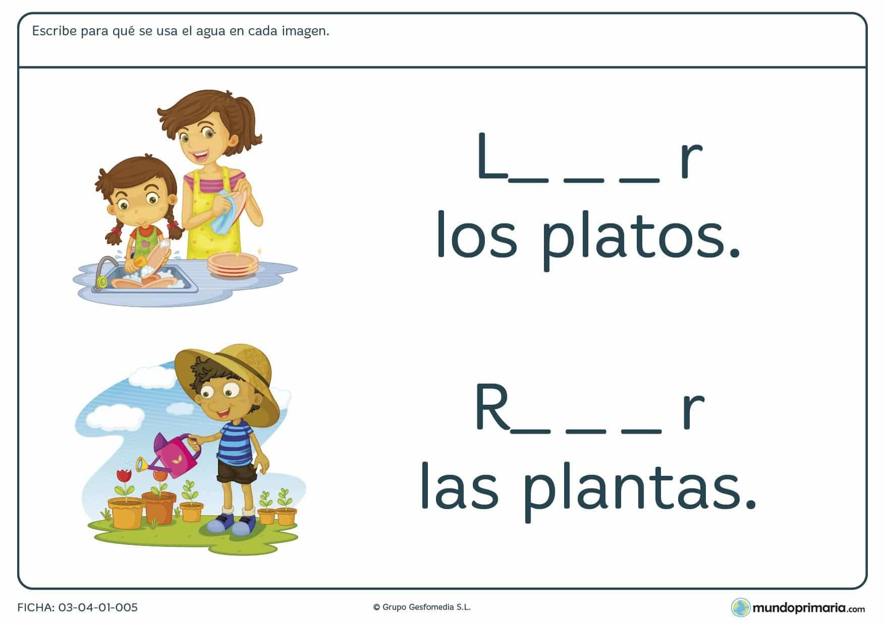 Ficha de los usos del agua para repasar los conocimientos de los niños de primaria sobre el agua