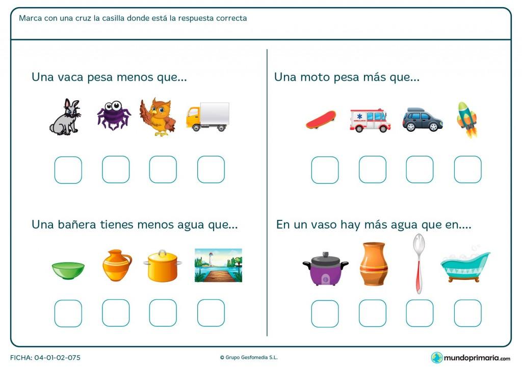 Ficha de pesos para primaria