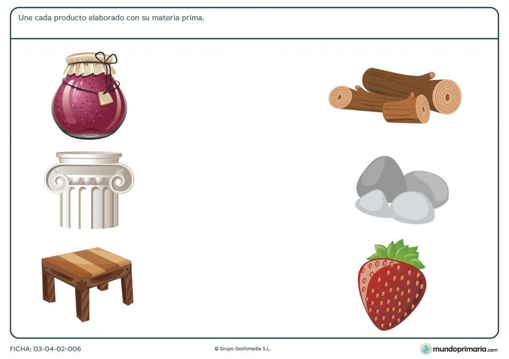 Ficha de relacionar materia y producto para niños de 6 años