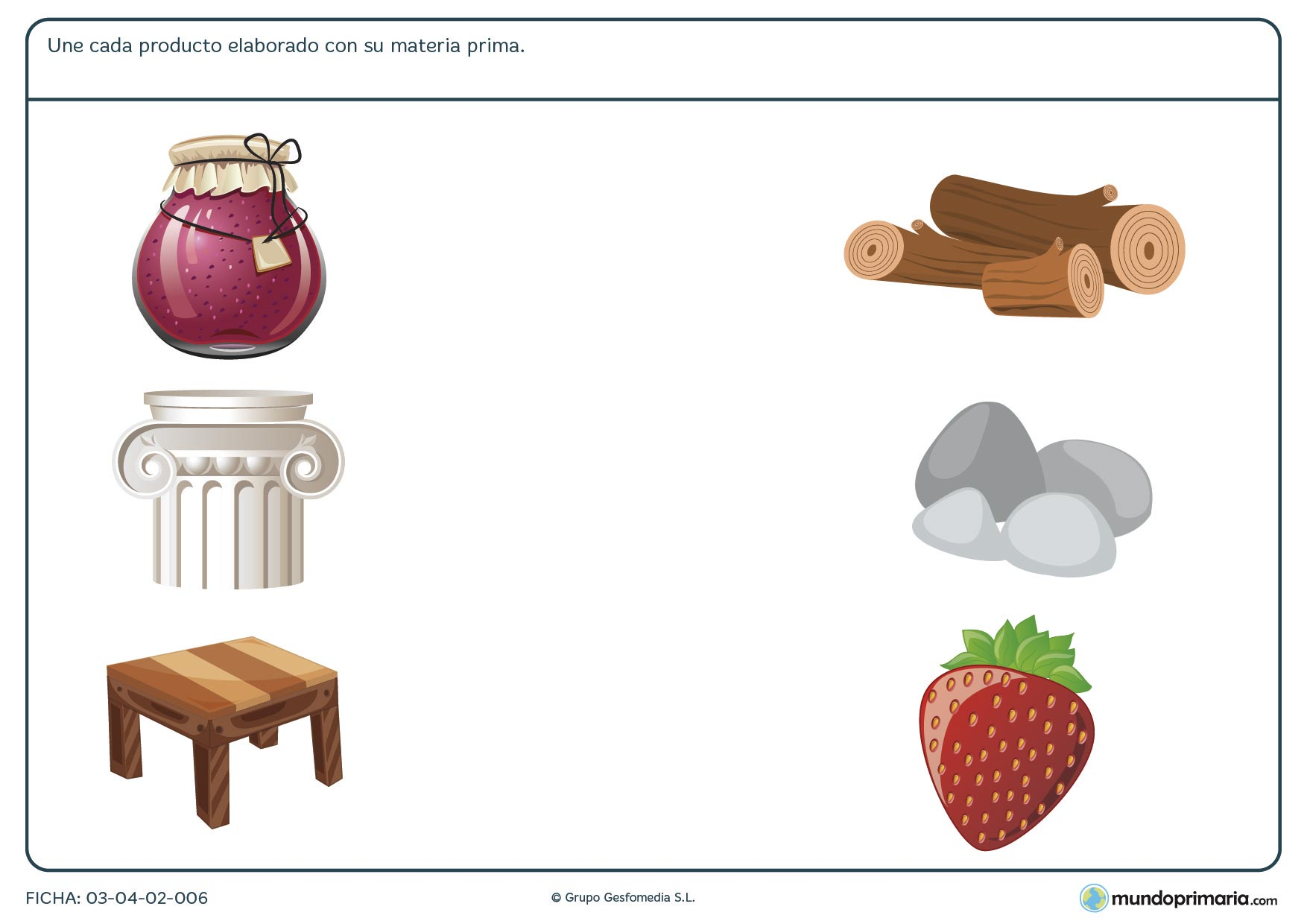 Ficha de relacionar materia y producto para descargar y practicar destinada a los niños de primaria