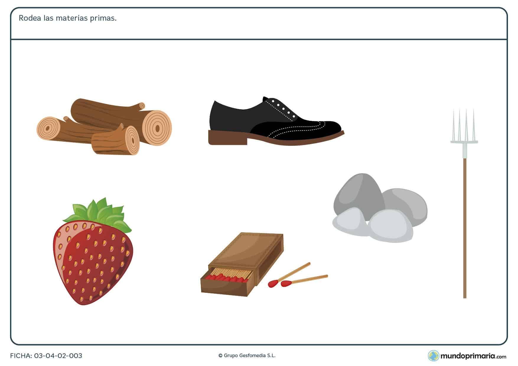 Ficha de señalar las materias primas con ejercicios para niños de 6 años