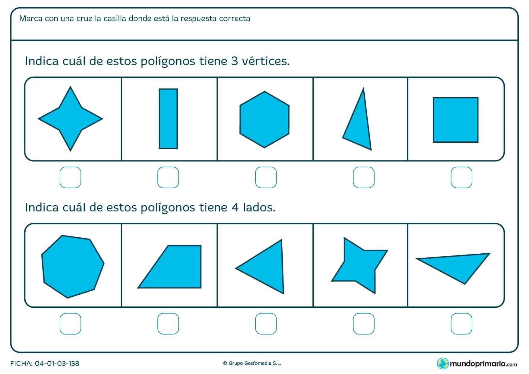 Ficha de vértices. Repasar los vértices con esta ficha de vértices para primaria