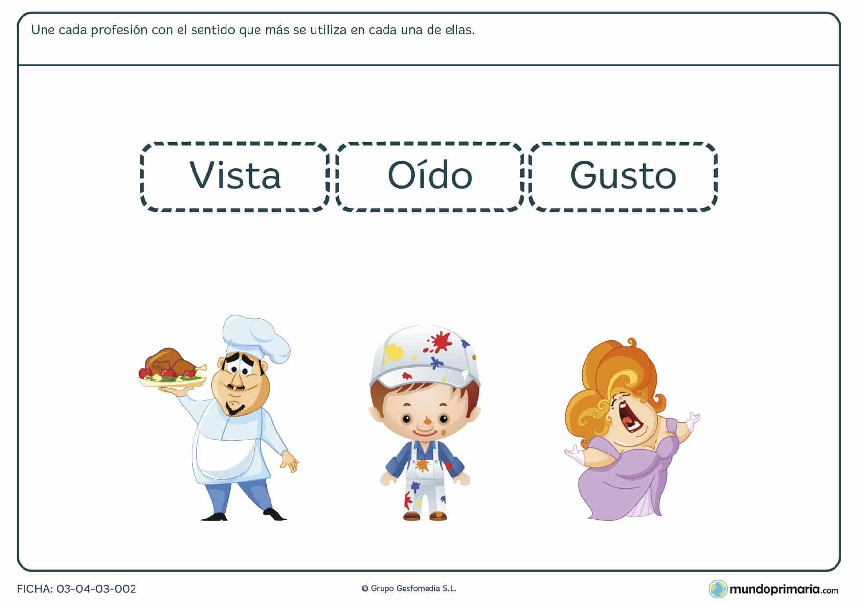Ficha del sentido utilizado en cada profesión donde los niños de primaria asocian los sentidos que se emplean en distintas profesiones