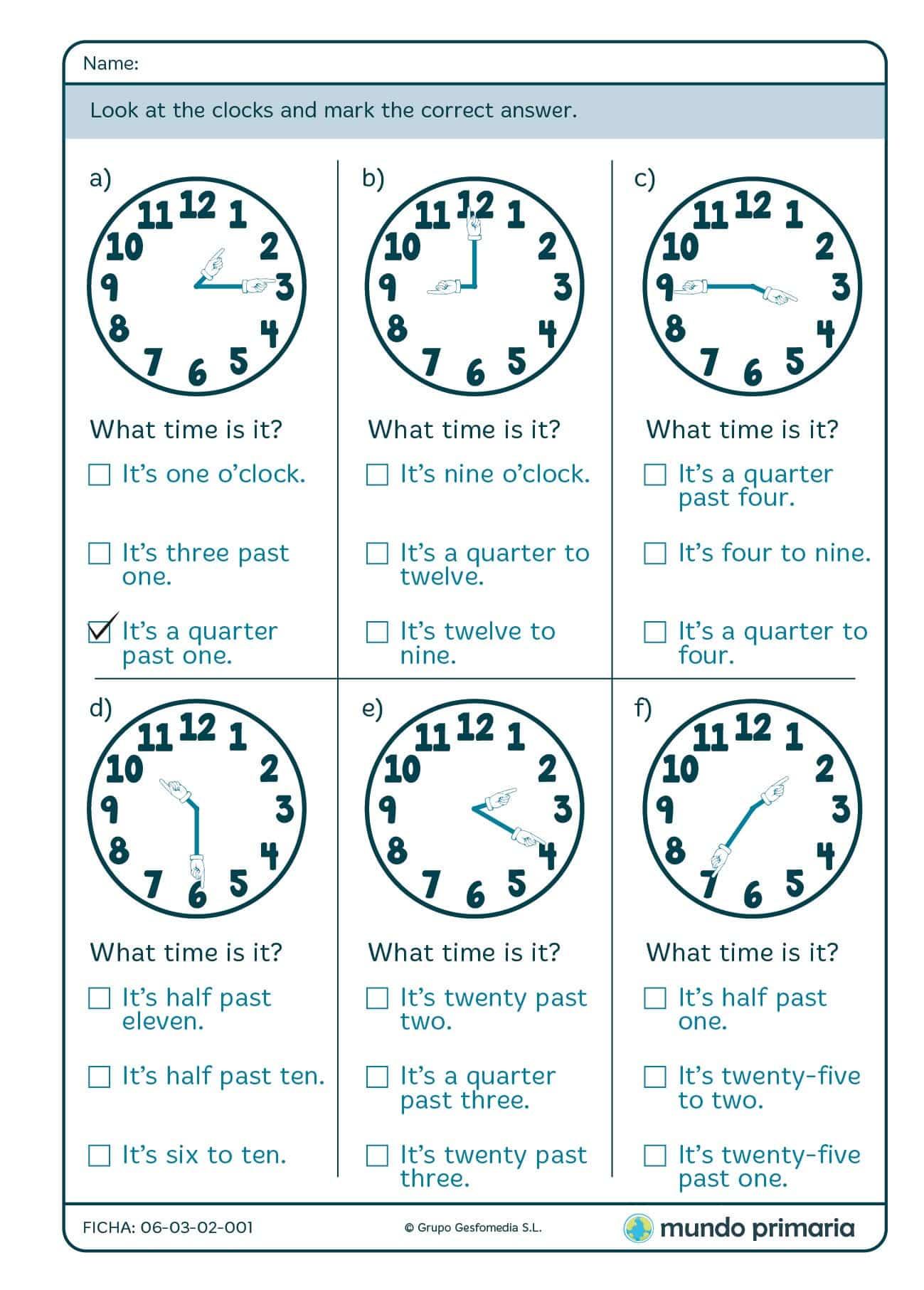 Ficha de what time is it para niños de 9 a 10 años