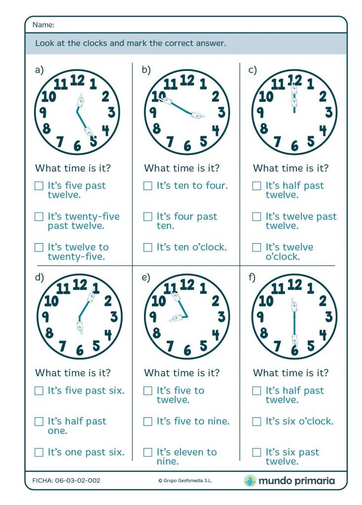 Ficha de las horas en inglés para primaria