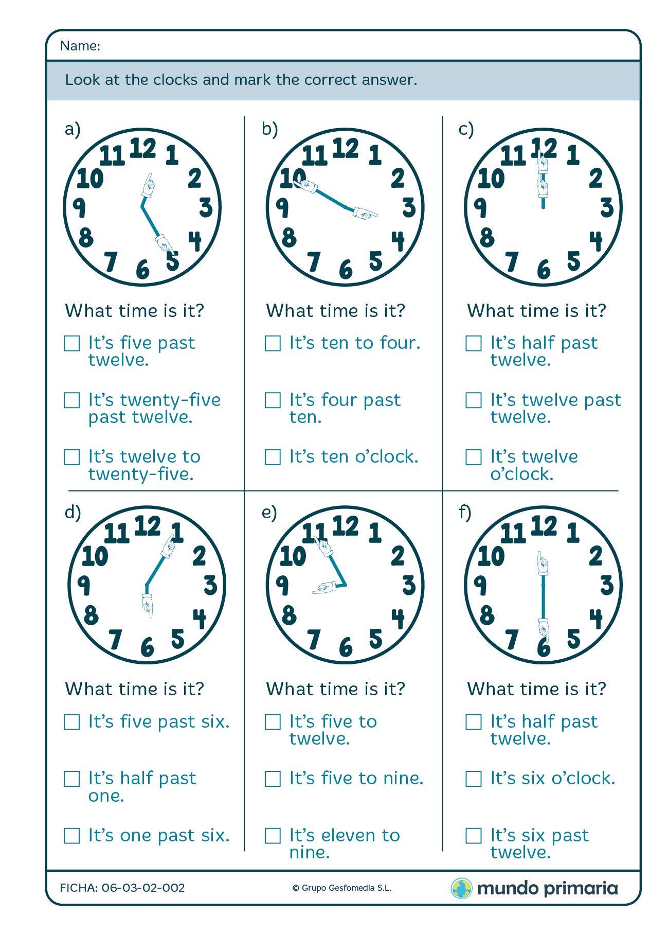 Ficha de las horas en inglés con ejercicios sobre decir la hora en inglés para niños de primaria
