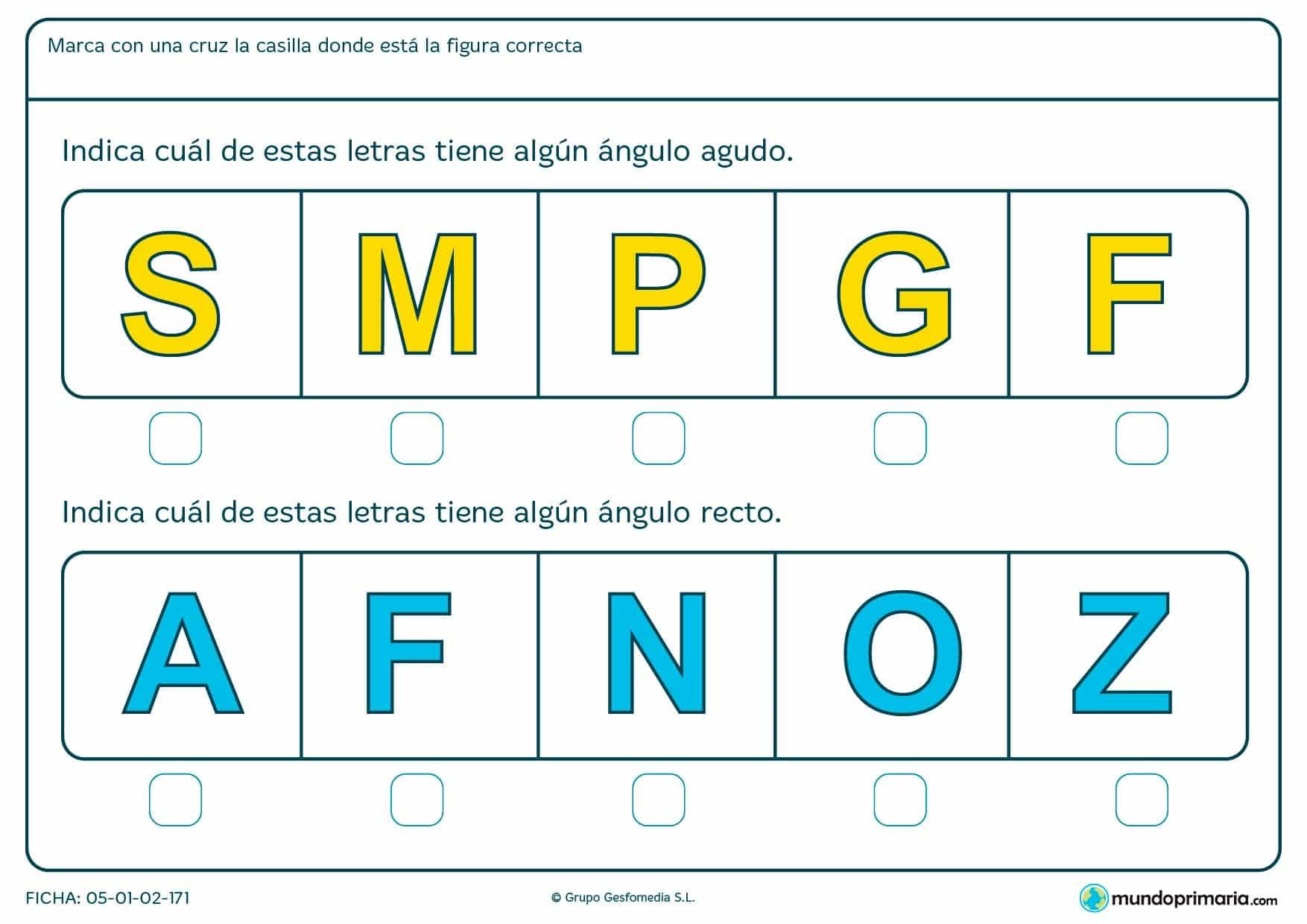 Ficha de ángulo de la F y otras mayúsculas en la que habrás de encontrar los ángulos que forman.