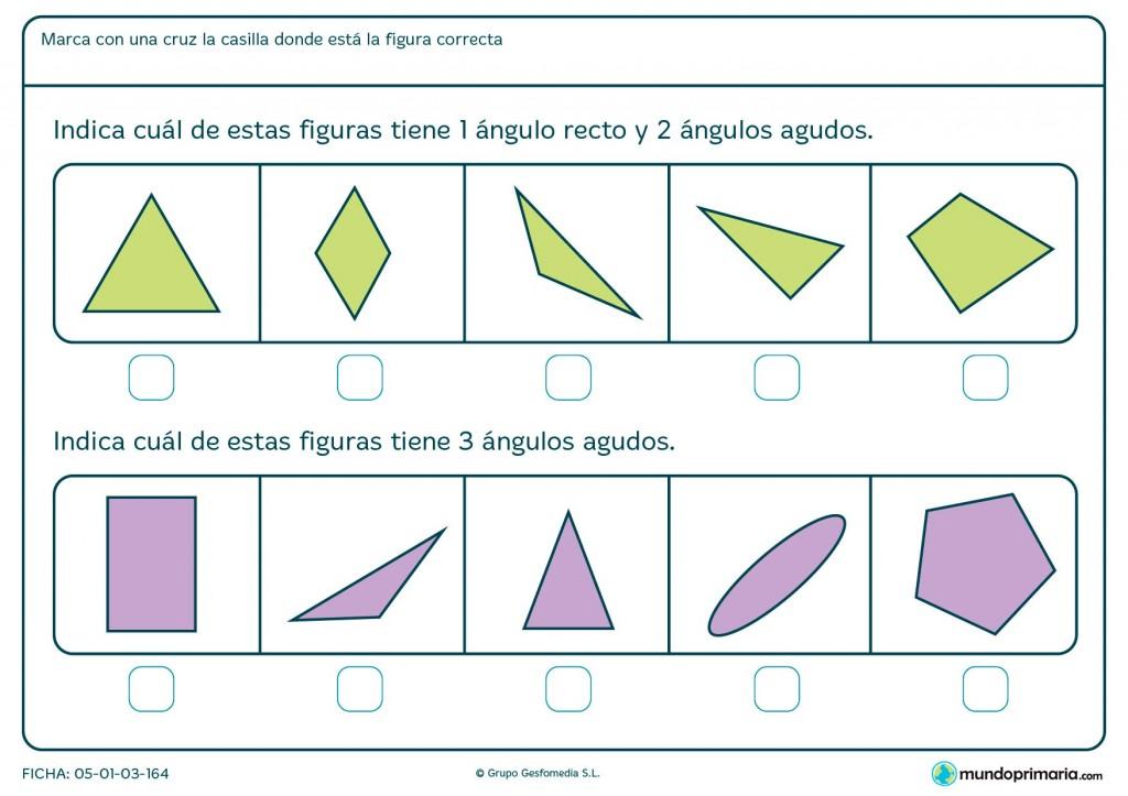 Ficha de ángulos agudos para primaria